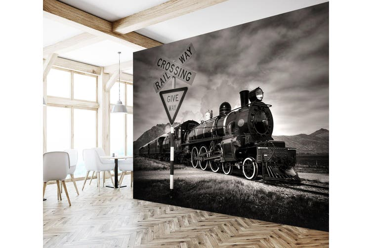 3D Train Street Sign 164 Vehicle Wall Murals Wallpaper Murals Self-adhesive Vinyl, XXXL 416cm x 254cm (WxH)(164''x100'')