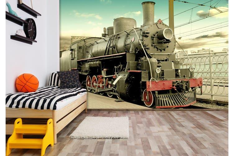 3D Black Train 161 Vehicle Wall Murals Wallpaper Murals Self-adhesive Vinyl, XXL 312cm x 219cm (WxH)(123''x87'')