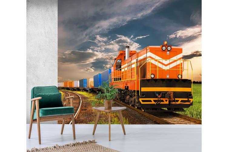 3D Orange Train 155 Vehicle Wall Murals Wallpaper Murals Woven paper (need glue), XXL 312cm x 219cm (WxH)(123''x87'')