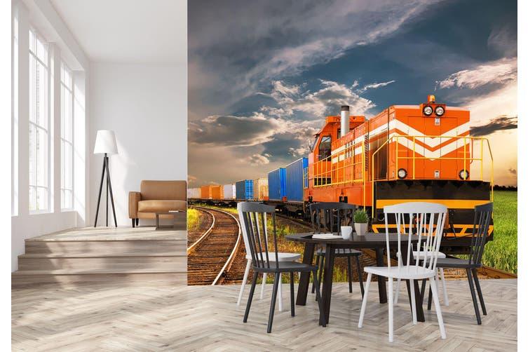 3D Orange Train 155 Vehicle Wall Murals Wallpaper Murals Self-adhesive Vinyl, XL 208cm x 146cm (WxH)(82''x58'')