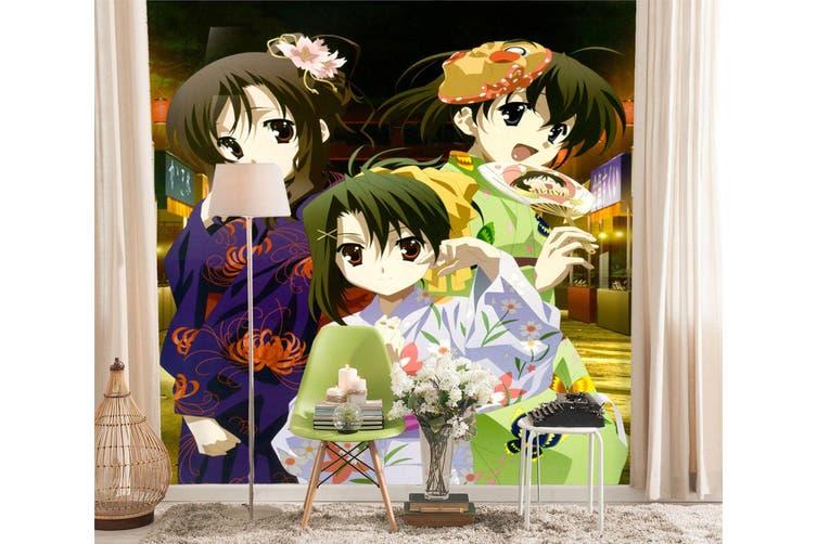 3D Cute Kimono Mask 97 Anime Wall Murals Woven paper (need glue), XXL 312cm x 219cm (HxW)(123''x87'')