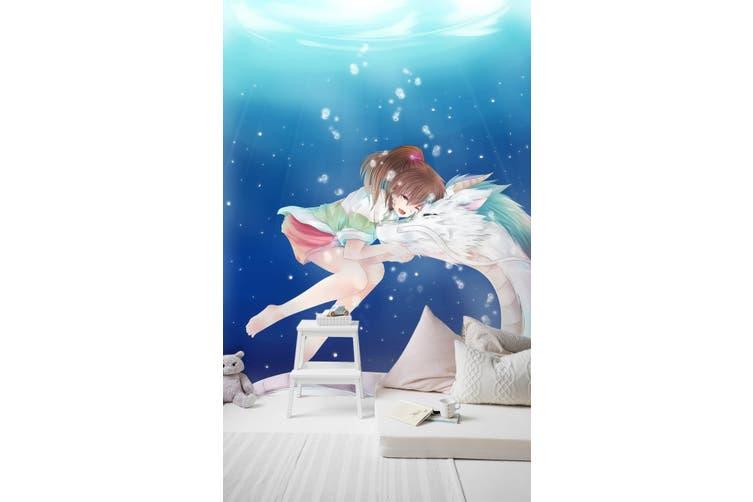 3D Snuggle White Dragon 93 Anime Wall Murals Self-adhesive Vinyl, XXXL 416cm x 254cm (HxW)(164''x100'')
