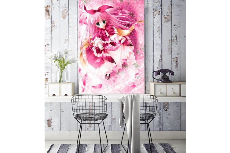 3D Pink Cute Loli 91 Anime Wall Murals Woven paper (need glue), XXXL 416cm x 254cm (HxW)(164''x100'')