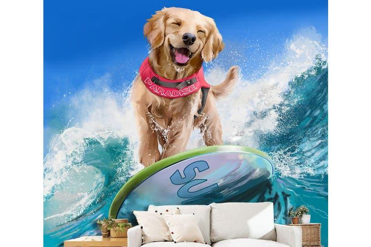 3D Dog Surfing 89 Anime Wall Murals Woven paper (need glue), XL 208cm x 146cm (HxW)(82''x58'')