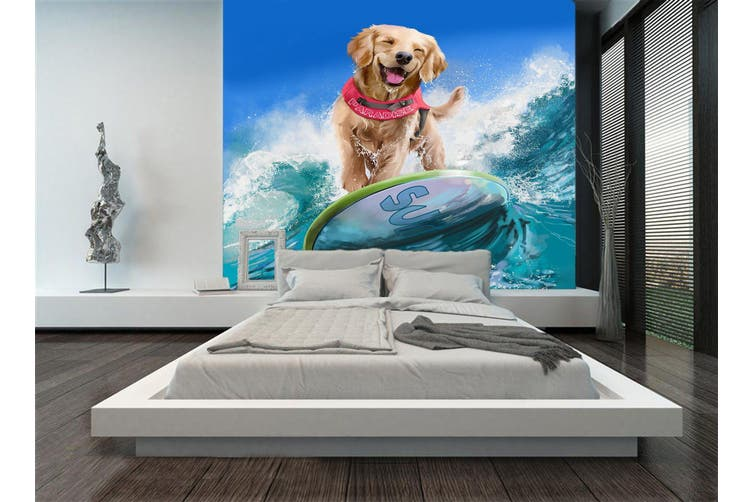 3D Dog Surfing 89 Anime Wall Murals Self-adhesive Vinyl, XL 208cm x 146cm (HxW)(82''x58'')
