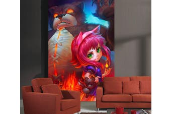 3D Horror Bear 85 Anime Wall Murals Self-adhesive Vinyl, XXXL 416cm x 254cm (HxW)(164''x100'')