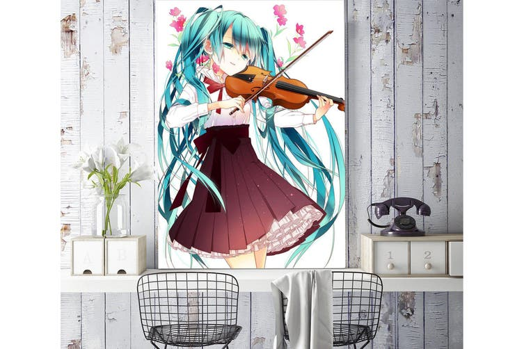 3D Hatsune Playing Violin 80 Anime Wall Murals Woven paper (need glue), XXXL 416cm x 254cm (HxW)(164''x100'')