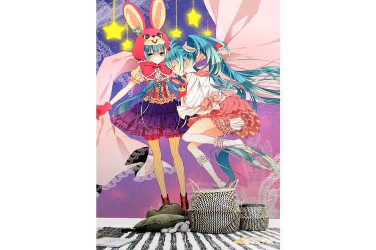 3D Hatsune Rabbit Hat 79 Anime Wall Murals Woven paper (need glue), XL 208cm x 146cm (HxW)(82''x58'')
