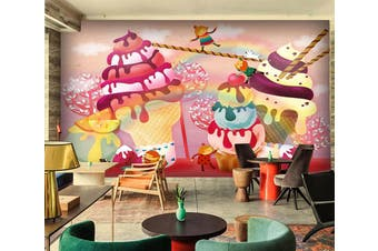 3D Ice Cream 1077 Wall Murals Woven paper (need glue) Wallpaper Murals
