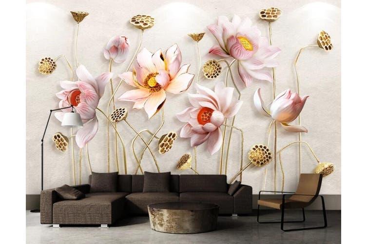 3D Lotus 963 Wall Murals Woven paper (need glue), XL 208cm x 146cm (WxH)(82''x58'')