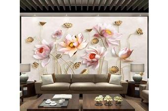3D Lotus 963 Wall Murals Woven paper (need glue), XXL 312cm x 219cm (WxH)(123''x87'')