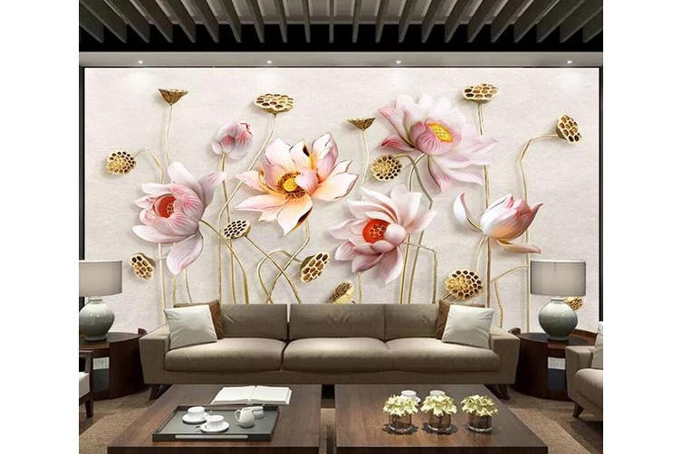 3D Lotus 963 Wall Murals Woven paper (need glue), XXXL 416cm x 254cm (WxH)(164''x100'')