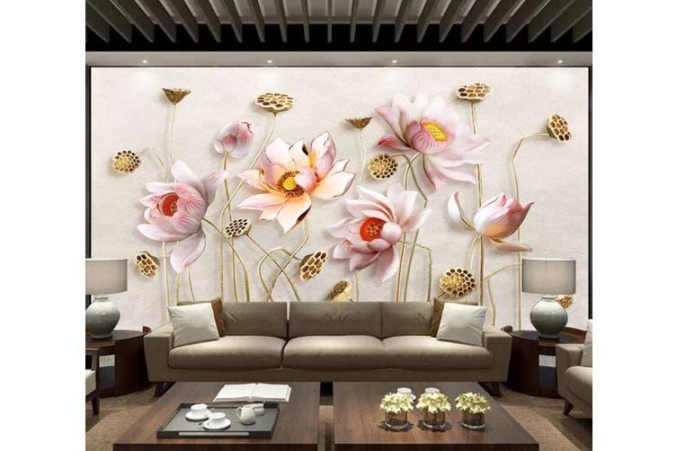 3D Lotus 963 Wall Murals Woven paper (need glue), XXXXL 520cm x 290cm (WxH)(205''x114'')