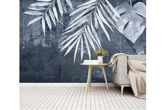 3D Gray Leaves 960 Wall Murals Woven paper (need glue), XL 208cm x 146cm (WxH)(82''x58'')