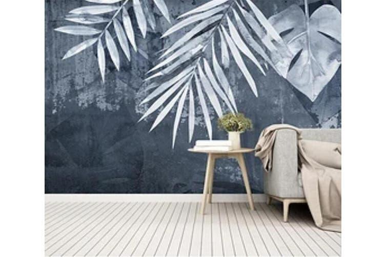 3D Gray Leaves 960 Wall Murals Woven paper (need glue), XXL 312cm x 219cm (WxH)(123''x87'')
