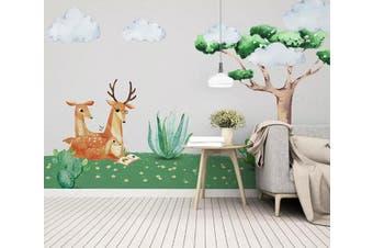 3D Grass Fawn 959 Wall Murals Self-adhesive Vinyl, XL 208cm x 146cm (WxH)(82''x58'')