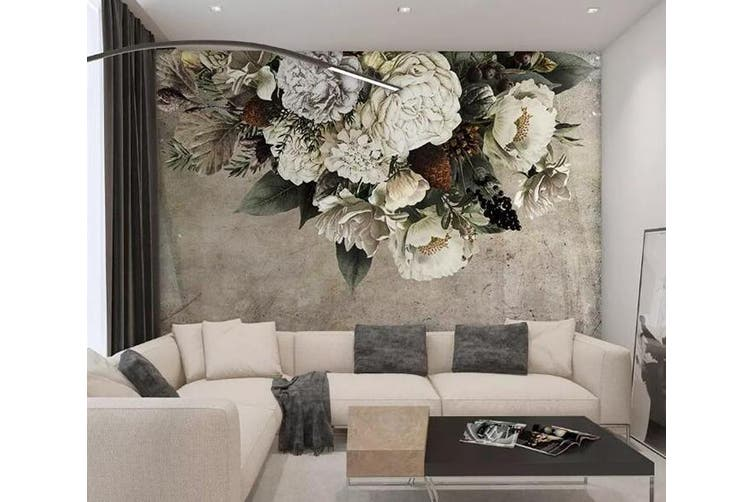 3D White Flowers 958 Wall Murals Woven paper (need glue), XL 208cm x 146cm (WxH)(82''x58'')