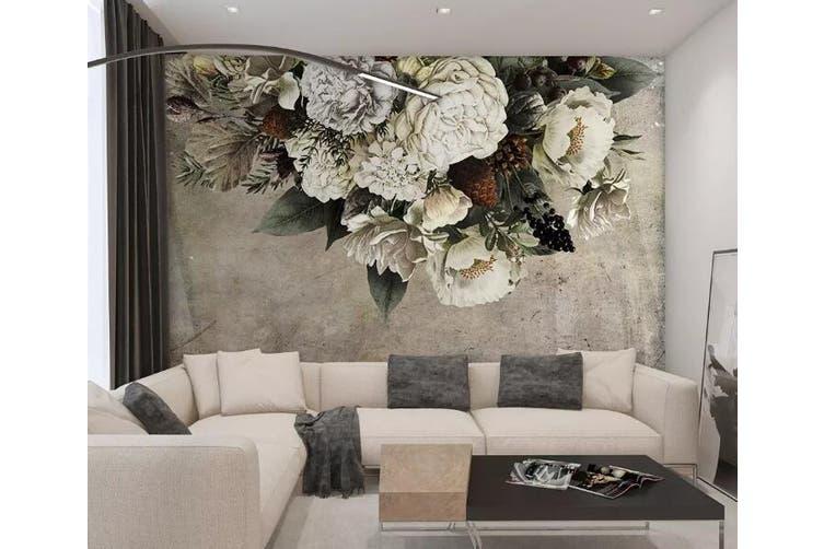 3D White Flowers 958 Wall Murals Woven paper (need glue), XXL 312cm x 219cm (WxH)(123''x87'')
