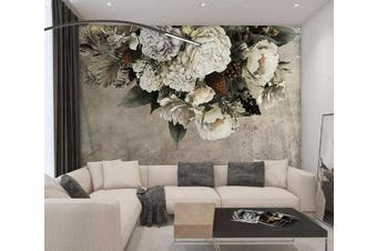 3D White Flowers 958 Wall Murals Self-adhesive Vinyl, XXL 312cm x 219cm (WxH)(123''x87'')