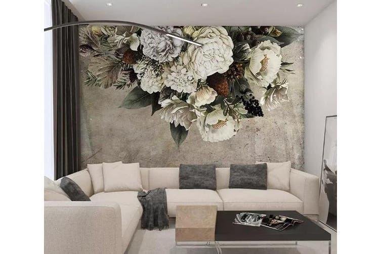 3D White Flowers 958 Wall Murals Self-adhesive Vinyl, XXXXL 520cm x 290cm (WxH)(205''x114'')