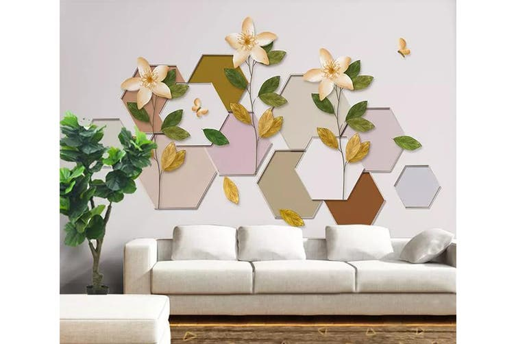3D Geometric Pattern Flower 957 Wall Murals Woven paper (need glue), XXXXL 520cm x 290cm (WxH)(205''x114'')