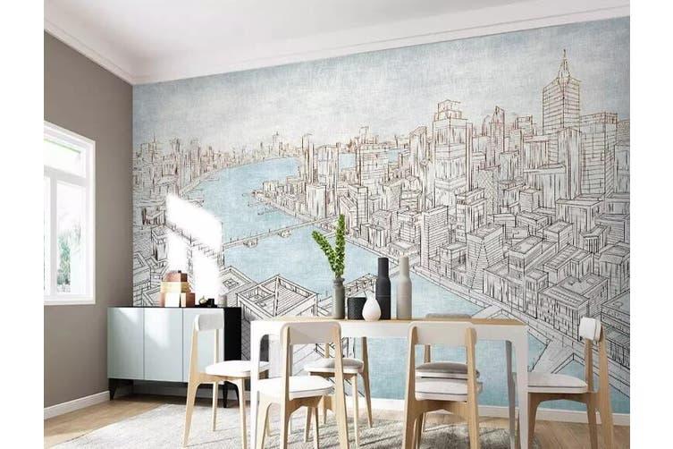 3D Grey City 955 Wall Murals Woven paper (need glue), XL 208cm x 146cm (WxH)(82''x58'')
