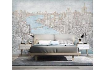 3D Grey City 955 Wall Murals Self-adhesive Vinyl, XL 208cm x 146cm (WxH)(82''x58'')