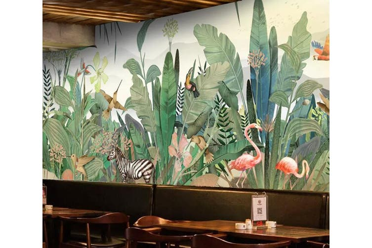 3D Pink Flamingo 951 Wall Murals Woven paper (need glue), XXL 312cm x 219cm (WxH)(123''x87'')