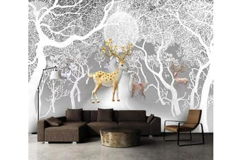 3D Tree Fawn 950 Wall Murals Woven paper (need glue), XL 208cm x 146cm (WxH)(82''x58'')