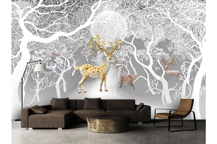 3D Tree Fawn 950 Wall Murals Self-adhesive Vinyl, XL 208cm x 146cm (WxH)(82''x58'')