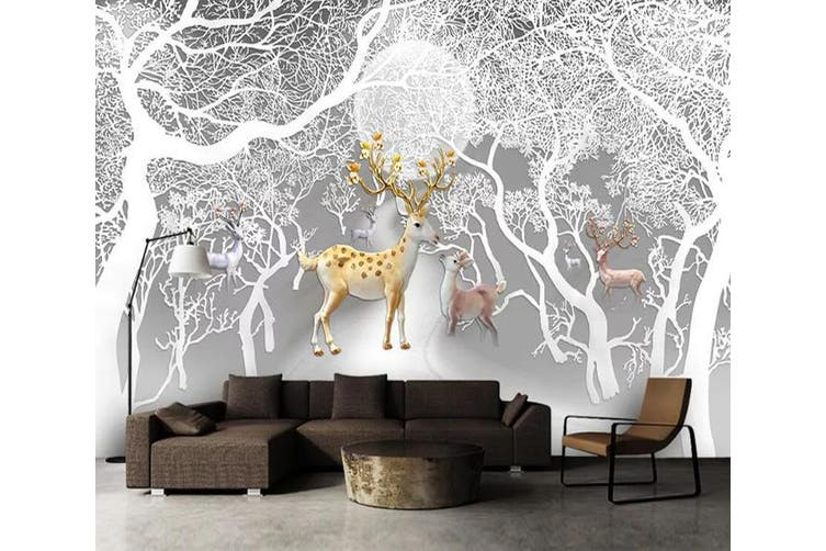 3D Tree Fawn 950 Wall Murals Self-adhesive Vinyl, XXL 312cm x 219cm (WxH)(123''x87'')