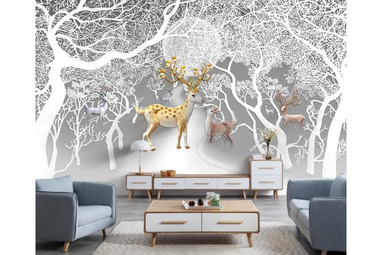3D Tree Fawn 950 Wall Murals Self-adhesive Vinyl, XXXL 416cm x 254cm (WxH)(164''x100'')