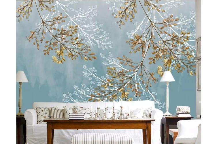 3D Leaves 945 Wall Murals Woven paper (need glue), XXL 312cm x 219cm (WxH)(123''x87'')