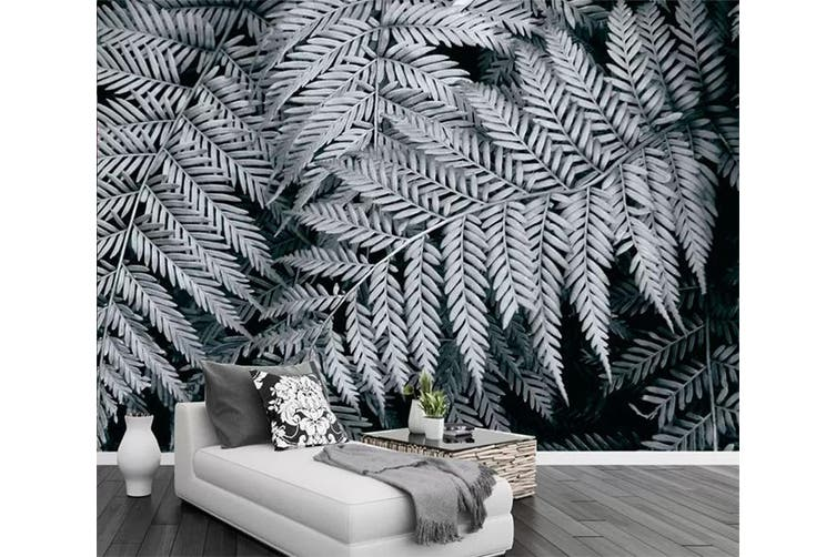 3D Gray Leaves 942 Wall Murals Woven paper (need glue), XL 208cm x 146cm (WxH)(82''x58'')
