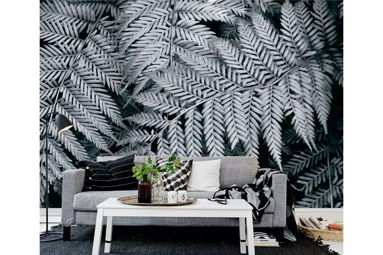 3D Gray Leaves 942 Wall Murals Woven paper (need glue), XXXXL 520cm x 290cm (WxH)(205''x114'')