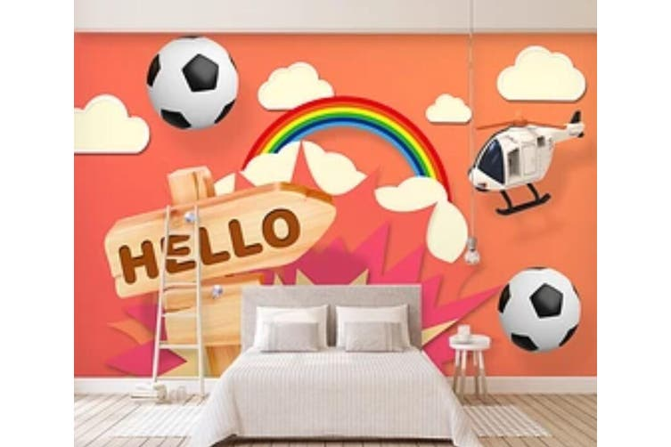 3D Color Football 938 Wall Murals Woven paper (need glue), XXL 312cm x 219cm (WxH)(123''x87'')