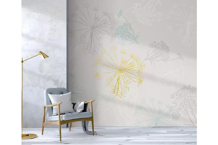 3D Colored Dandelion 935 Wall Murals Woven paper (need glue), XL 208cm x 146cm (WxH)(82''x58'')