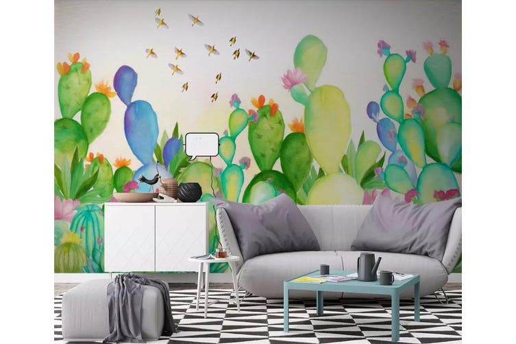 3D Cactus 933 Wall Murals Woven paper (need glue), XXXXL 520cm x 290cm (WxH)(205''x114'')
