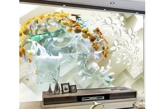 3D Flower Butterfly 932 Wall Murals Woven paper (need glue), XXL 312cm x 219cm (WxH)(123''x87'')