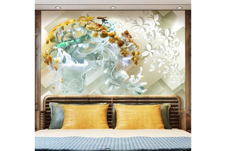 3D Flower Butterfly 932 Wall Murals Woven paper (need glue), XXXXL 520cm x 290cm (WxH)(205''x114'')