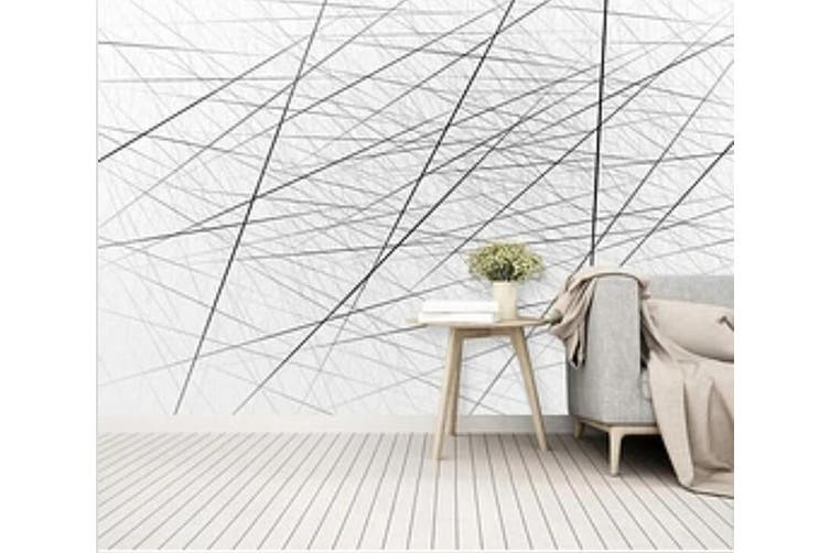 3D Black Straight Line 930 Wall Murals Woven paper (need glue), XL 208cm x 146cm (WxH)(82''x58'')