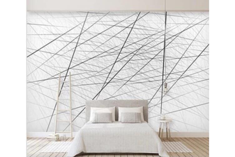 3D Black Straight Line 930 Wall Murals Self-adhesive Vinyl, XXL 312cm x 219cm (WxH)(123''x87'')