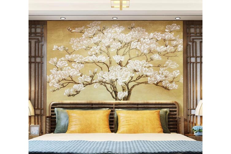 3D White Flowers 926 Wall Murals Woven paper (need glue), XL 208cm x 146cm (WxH)(82''x58'')