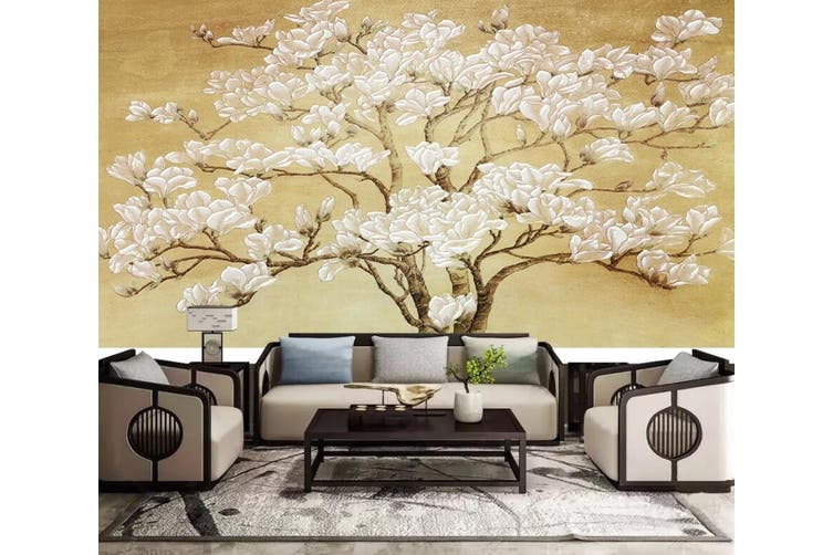 3D White Flowers 926 Wall Murals Woven paper (need glue), XXXXL 520cm x 290cm (WxH)(205''x114'')