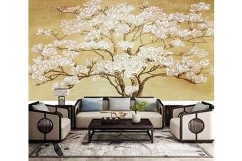 3D White Flowers 926 Wall Murals Self-adhesive Vinyl, XXL 312cm x 219cm (WxH)(123''x87'')