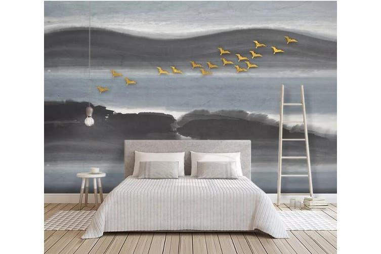 3D Golden Bird 923 Wall Murals Woven paper (need glue), XXL 312cm x 219cm (WxH)(123''x87'')