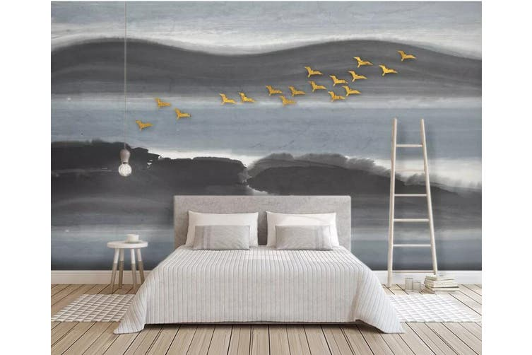 3D Golden Bird 923 Wall Murals Woven paper (need glue), XXXL 416cm x 254cm (WxH)(164''x100'')