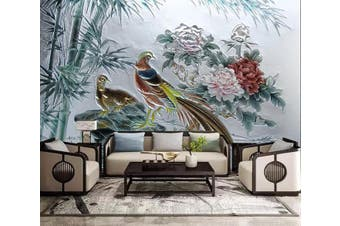 3D Birds And Flowers 921 Wall Murals Woven paper (need glue), XL 208cm x 146cm (WxH)(82''x58'')
