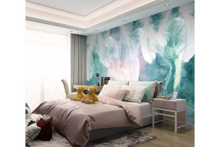 3D Colored Feather 919 Wall Murals Woven paper (need glue), XL 208cm x 146cm (WxH)(82''x58'')