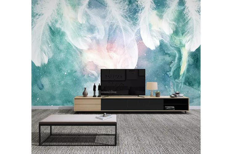 3D Colored Feather 919 Wall Murals Woven paper (need glue), XXL 312cm x 219cm (WxH)(123''x87'')
